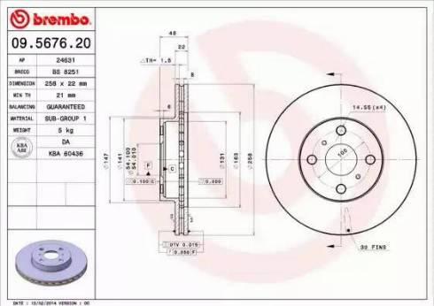 Brembo 09.5676.20 - Тормозной диск autodnr.net