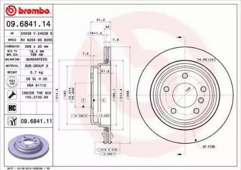 Brembo 09.6841.11 - Тормозной диск autodnr.net