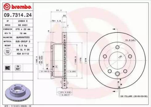 Brembo 09.7314.24 - Тормозной диск autodnr.net