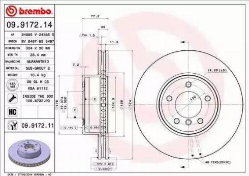 Brembo 09.9172.11 - Тормозной диск autodnr.net