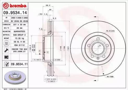 Brembo 09.9534.14 - Тормозной диск autodnr.net