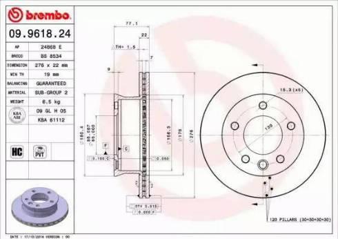 Brembo 09.9618.24 - Тормозной диск autodnr.net