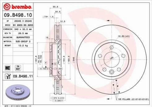 Brembo 09.B498.11 - Тормозной диск autodnr.net