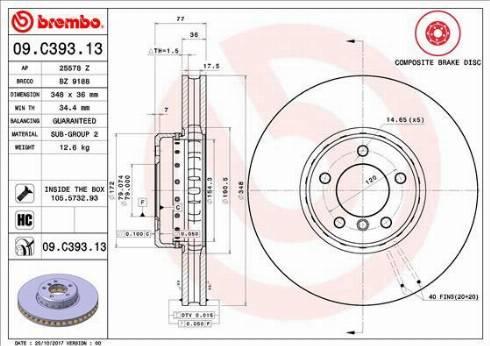 Brembo 09.C393.13 - Тормозной диск autodnr.net