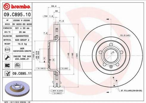 Brembo 09.C895.11 - Тормозной диск autodnr.net