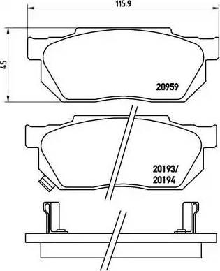 Brembo P 28 008 - Комплект тормозных колодок, дисковый тормоз autodnr.net