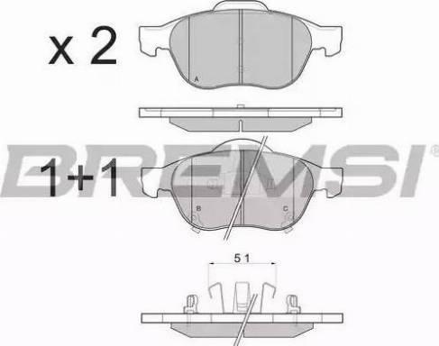 Bremsi BP3085 - Комплект тормозных колодок, дисковый тормоз autodnr.net