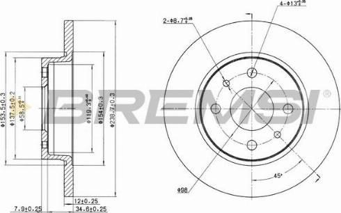 Bremsi CD6215S - Тормозной диск autodnr.net