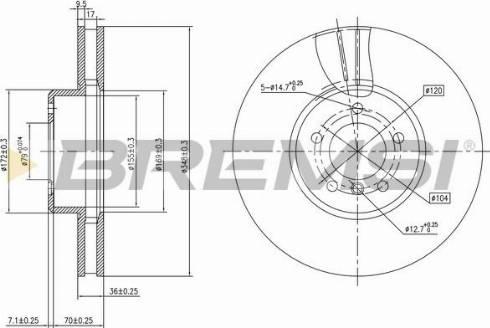 Bremsi CD7867V - Тормозной диск autodnr.net