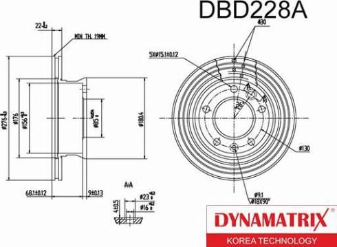 Dynamatrix DBD228A - Тормозной диск autodnr.net