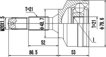 Dynamatrix dcv810026 - Шарнирный комплект, приводной вал autodnr.net