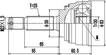 Dynamatrix DCV839014 - Шарнирный комплект, приводной вал autodnr.net