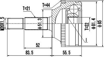 Dynamatrix DCV850043 - Шарнирный комплект, приводной вал autodnr.net