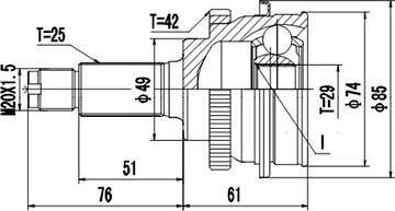 Dynamatrix DCV857041 - Шарнирный комплект, приводной вал autodnr.net