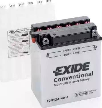Exide 12N12A-4A-1 - Стартерная аккумуляторная батарея, АКБ car-mod.com