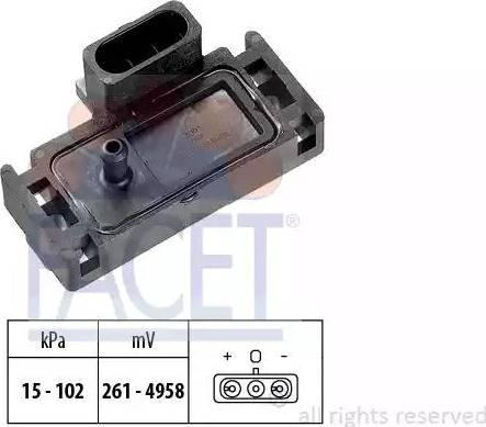 FACET 10.3001 - Датчик, давление во впускной трубе car-mod.com