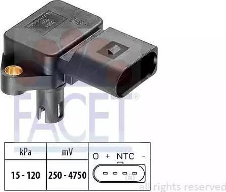 FACET 10.3084 - Датчик, давление во впускной трубе car-mod.com