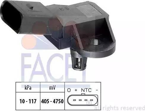 FACET 10.3090 - Датчик, давление выхлопных газов car-mod.com