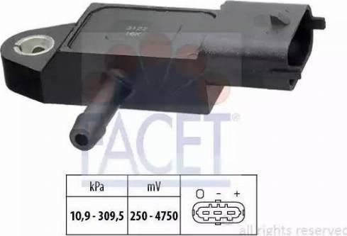 FACET 103144 - Датчик, давление выхлопных газов avtokuzovplus.com.ua