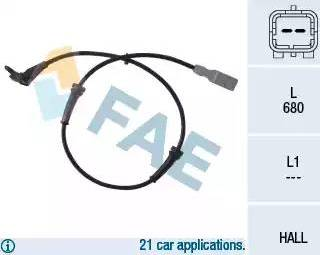 FAE 78036 - Датчик ABS, частота вращения колеса autodnr.net