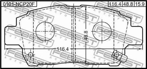 Febest 0101-NCP20F - Комплект тормозных колодок, дисковый тормоз autodnr.net
