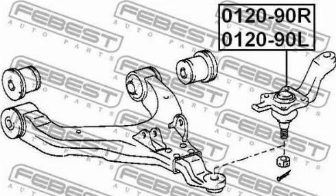 Febest 0120-90L - Шаровая опора, несущий / направляющий шарнир car-mod.com