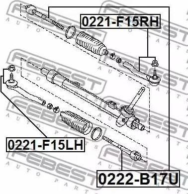 Febest 0222-B17U - Осевой шарнир, рулевая тяга autodnr.net