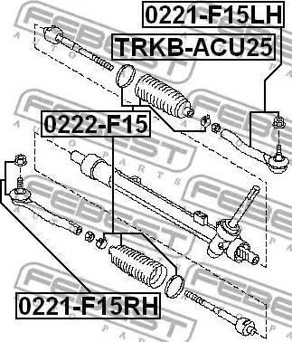 Febest 0222-F15 - Осевой шарнир, рулевая тяга autodnr.net