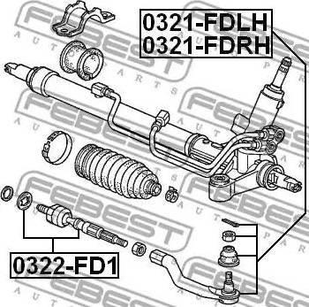 Febest 0322fd1 - Осевой шарнир, рулевая тяга autodnr.net