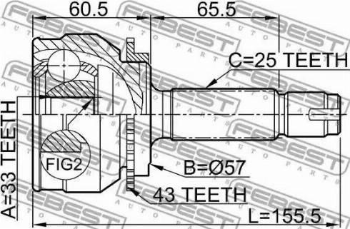 Febest 0410044A43 - Шарнирный комплект, приводной вал autodnr.net
