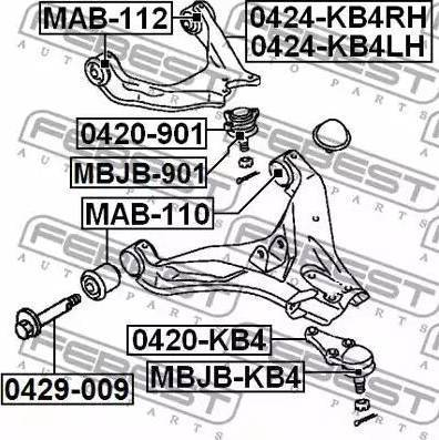 Febest 0420-KB4 - Шаровая опора, несущий / направляющий шарнир car-mod.com