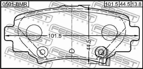 Febest 0501-BMR - Комплект тормозных колодок, дисковый тормоз autodnr.net