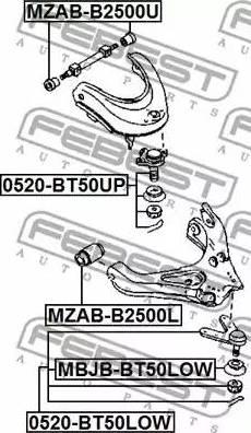 Febest 0520-BT50UP - Шаровая опора, несущий / направляющий шарнир car-mod.com
