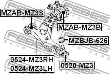 Febi Bilstein ZSD-MZ-013F - Шаровая опора, несущий / направляющий шарнир car-mod.com