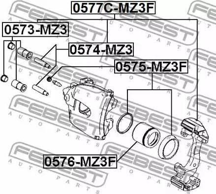 Febest 0575-MZ3F - Ремкомплект, тормозной суппорт avtokuzovplus.com.ua