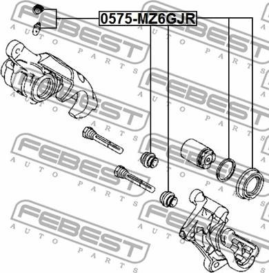 Febest 0575-MZ6GJR - Ремкомплект, тормозной суппорт avtokuzovplus.com.ua