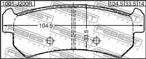 Febest 1001J200R - Комплект тормозных колодок, дисковый тормоз autodnr.net
