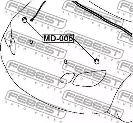 Febest MD005 - Буфер, капот car-mod.com