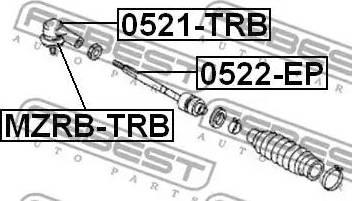 Febest MZRBTRB - Ремкомплект, наконечник поперечной рулевой тяги avtokuzovplus.com.ua