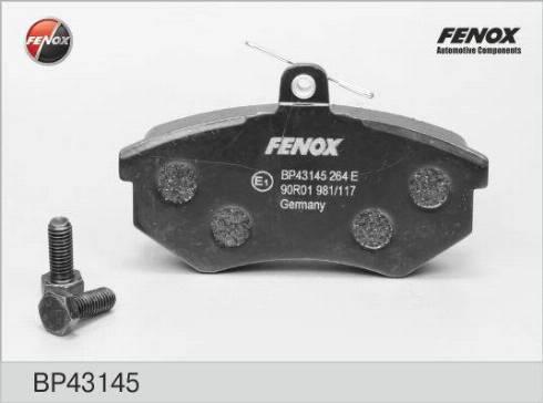 Fenox BP43145 - Комплект тормозных колодок, дисковый тормоз autodnr.net