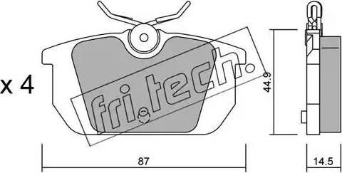 Fri.Tech. 066.0 - Комплект тормозных колодок, дисковый тормоз autodnr.net