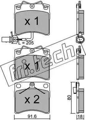 Fri.Tech. 166.2 - Комплект тормозных колодок, дисковый тормоз autodnr.net