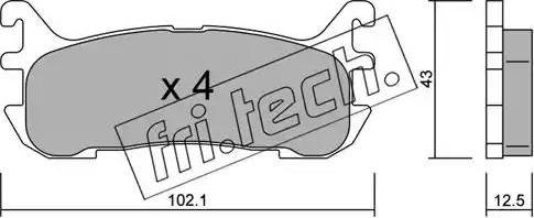 Fri.Tech. 408.0 - Комплект тормозных колодок, дисковый тормоз autodnr.net