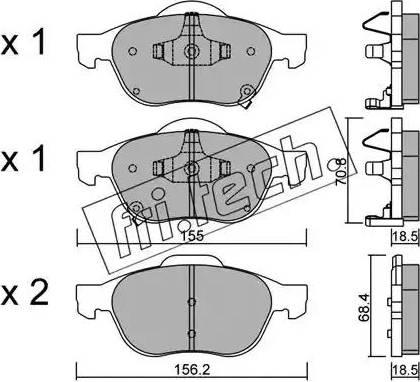 Fri.Tech. 464.0 - Комплект тормозных колодок, дисковый тормоз autodnr.net