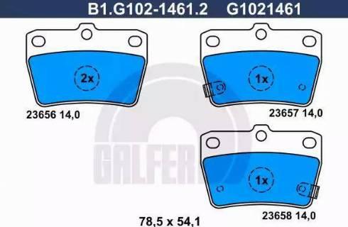 Galfer B1.G102-1461.2 - Комплект тормозных колодок, дисковый тормоз autodnr.net