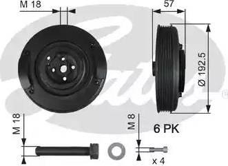 Gates TVD1033A - Ременный шкив, коленчатый вал car-mod.com