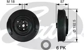 Gates TVD1033 - Ременный шкив, коленчатый вал car-mod.com