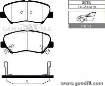 GoodWill 1065 F - Тормозные колодки, дисковые car-mod.com
