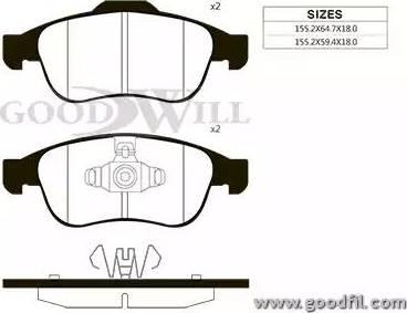 GoodWill 1083 F - Тормозные колодки, дисковые car-mod.com