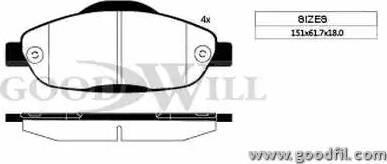 GoodWill 1117 F - Тормозные колодки, дисковые car-mod.com